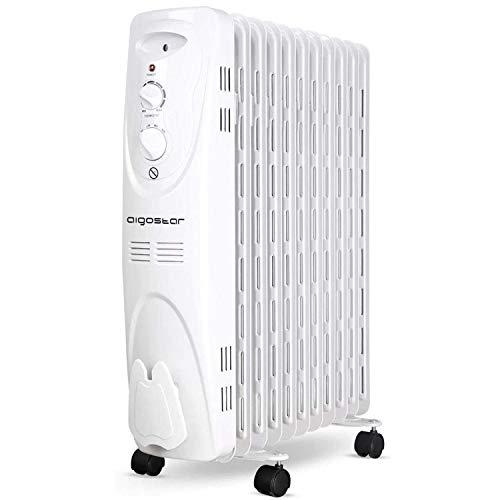 Aigostar Pangpang – Radiador de aceite de 11 elementos, 2300 Watios, dispone de 3 ajustes de potencia y control termostático de temperatura. Diseño exclusivo.