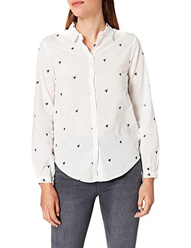 Springfield Blusa Topos Flor Bordados Camisa, Blanco, 38 para Mujer
