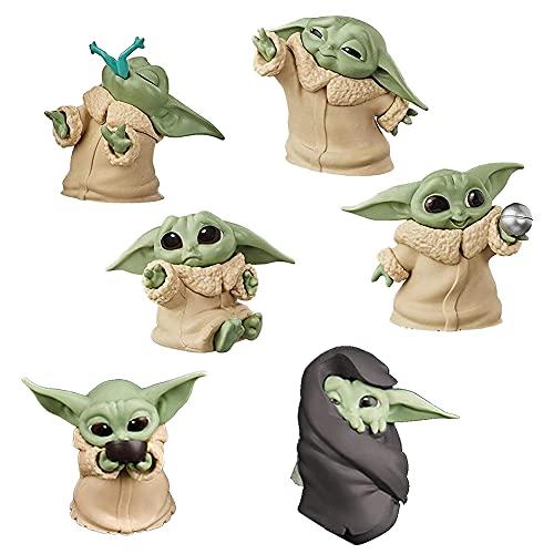Star Wars Baby Yoda Nesloonp 6 juegos de juguetes Yoda para bebés, lindos mini modelos, decoraciones de mesa impermeables y a prueba de óxido, joyas de Star Wars Yoda