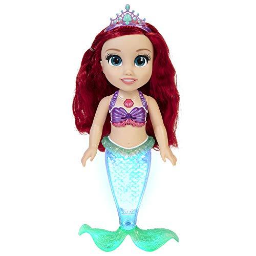 Disney Princesas, Muñeca Ariel Especial Grande, 38 cm; Reproduce 2 Canciones y su Cola Brilla y se ilumuina