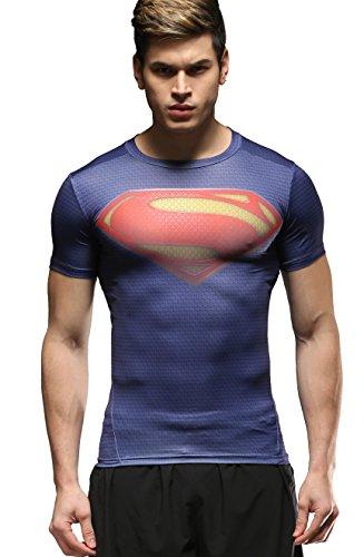 Cody Lundin Hombres Deportes Fitness Impreso el Logotipo del superhéroe compresión Medias de Manga Corta Camiseta (L)