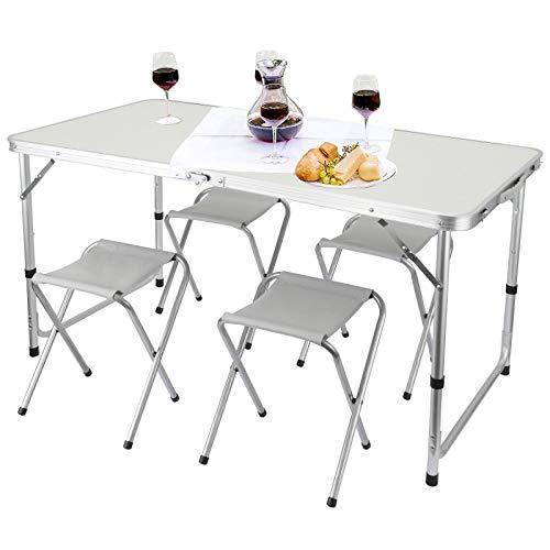 Rayisin Mesa de camping de 120 x 60 x 55/60/70 (altura regulable), mesa plegable de aluminio con asa, juego de 4 sillas, mesa de jardín, mesa de trabajo, mesa de balcón, mesa de bufé