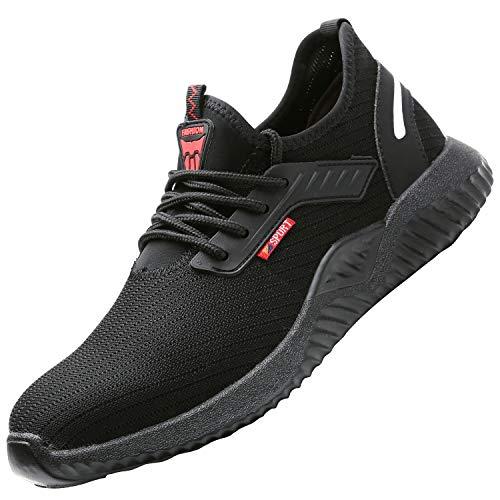 UCAYALI Zapatos de Seguridad Hombre Trabajo Comodos Ligeros Transpirables Zapatillas Trabajo Seguridad Deportivo Punta de Acero para Electricista Soldador Construccion Verano(015 Negro, 43 EU/265)