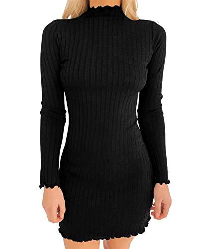 AMABILEMIA Vestido elegante de mujer de punto, mini vestido sexy ajustado, vestido de noche corto negro con mangas largas cuello alto AM927 Negro M