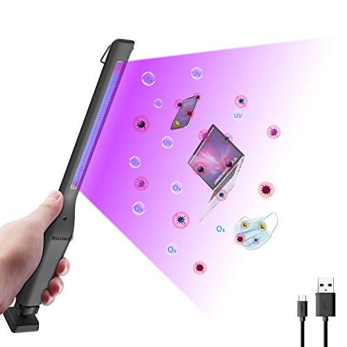 MXLEGNT Lámpara de Desinfección UV, Esterilizador Portátil USB 254nm UVC+Ozone, Esterilización Eficiente 99.99%, Temporizador de 30Minutos, Desinfección, Desodorización y ácaros Multifunción.