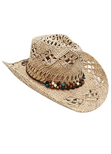 Sombrero de Cowboy de Paja Vaquero Panamá con Banda Occidental Unisex Talla Única Hombre Mujer para Verano (XH-100)