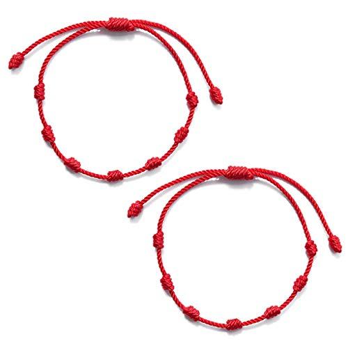 KERDEJAR Pulseras de Hilo Rojo, 2 Piezas de 7 Nudos Pulsera de Hilo Rojo para protección Mal de Ojo Amuleto de Buena Suerte para el éxito y la Prosperidad Pulsera de la Amistad Rojo
