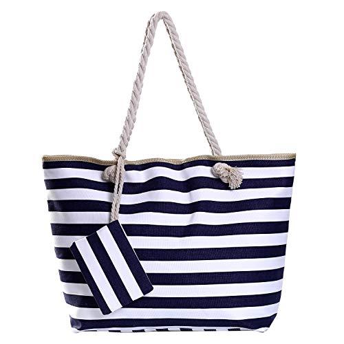 Bolso de Playa Grande con Cremallera Bolso de Hombro a Rayas Azul Marino y Blanco