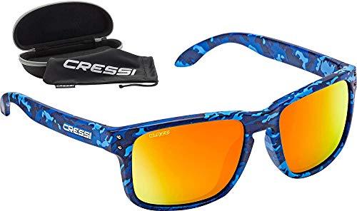 Cressi Blaze Sunglasses Gafas de Sol HTC polarizadas y repelentes al Agua, Adultos Unisex, Camouflage Shark/Espejadas Lentes Naranja, Talla única
