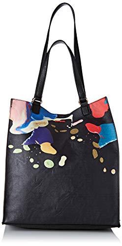 Desigual Bag Arty Cooper Colorado, Bolsa de capazo para Mujer, Negro (Negro), 36x16x31 centimeters (B x H x T)