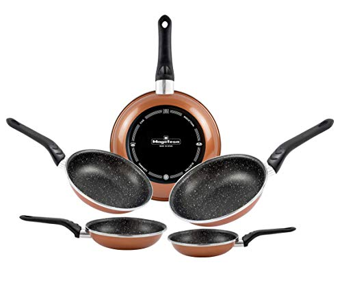 Magefesa Pack Sartenes Copper 18/20/24/26/28 cm, acero vitrificado exterior cobre, antiadherente bicapa efecto piedra, aptas para todo tipo de cocinas, especial inducción. 50% ahorro energético.