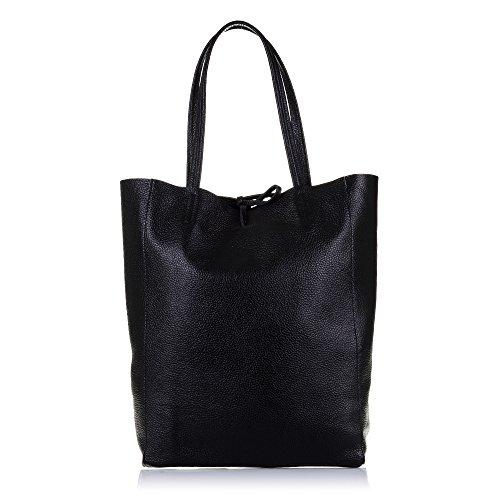 Firenze ARTEGIANI.Bolso Shopping Bag de Mujer Piel auténtica.Bolso Mujer Cuero gneuino Savage Tacto Suave Acabado Lujo. Made IN Italy. Vera Pelle Italiana. 27x37x13 5 cm. Color: Negro