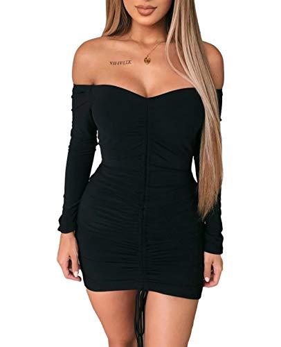 Amabilemia - Vestido elegante para mujer - Vestido corto, sexy, adherente - Color negro - Vestido de mangas largas - Ideal para la noche, para una fiesta - Modelo n. AM397 Negro S