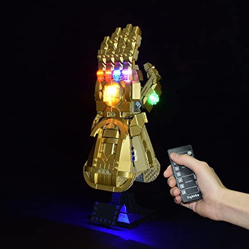 MBKE Conjunto de Luces Lluminación para LEGO 76191 Marvel Guantelete del Infinito , Kit de luz LED Compatible con Lego 76191 , Control remoto