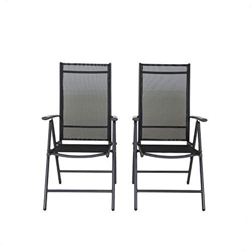 Unbekannt Klappsessel aus Aluminium, hohe Rückenlehne, 7-fach verstellbar, Textilene 4x4, Anthrazit und Schwarz (2 St.) Silln, Antracita
