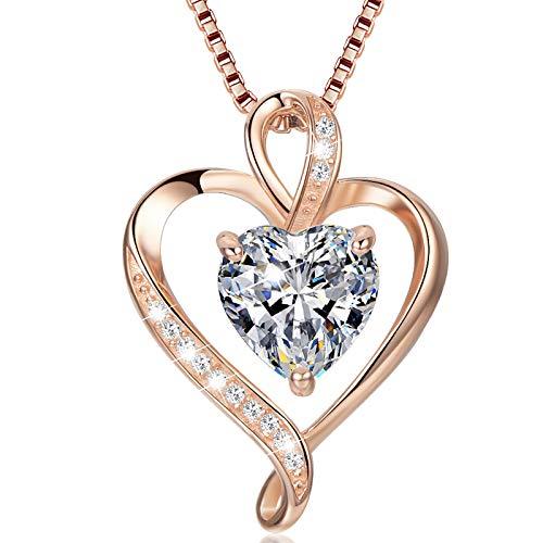 LAVUMO Collares Mujer Amor Colgante de Corazón Oro Rosa Plata de Ley 925 Collares de Mujer,Joyas Regalos para Esposa, Mamá, Novia, Cumpleaños Navidad Aniversario día de San Valentín Regalo(RG-04)