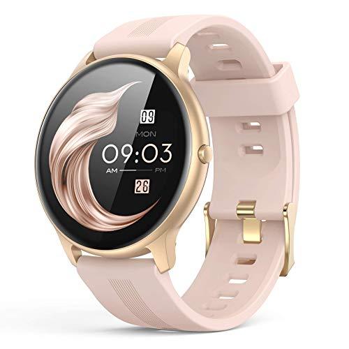 Smartwatch Mujer, AGPTEK Reloj Inteligente Deportivo 1.3 Pulgadas Táctil Completa IP68, Monitor de Sueño, Seguimiento del Menstrual, Control de Musica, Regalo Navidad