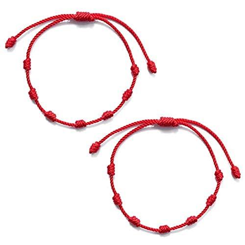 GTDAL ALXiiii Pulsera Roja 7 Nudos Amuleto del Pulsera Cordón Pulsera Hilo Rojo de Pulsera roja de Amistad de Pareja Ajustable Tejida a Mano de Personalidad Simple