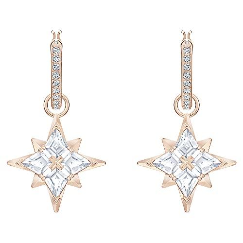 Swarovski Pendientes de aro Swarovski Symbolic Star, blanco, Baño en tono Oro Rosa