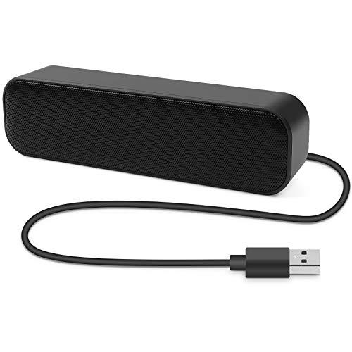 Umitive Altavoces PC Mini, USB Barra de Sonido Portátil con Estéreo Envolvente 3D, Plug and Play, Diseño Antideslizante, Amplia Compatibilidad, Altavoz para Escritorio Computadora y Ordenador Portátil