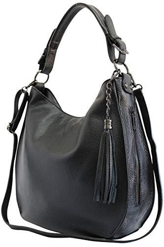 AmbraModa Bolso italiano para mujer bolso de hombro Hobo Bag de cuero genuino GL026 (negro)