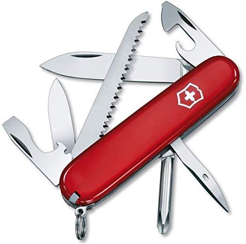 Victorinox Hiker Navaja con 13funciones, incluyendo sierra para madera, destornillador Phillips y palillo de dientes, color rojo