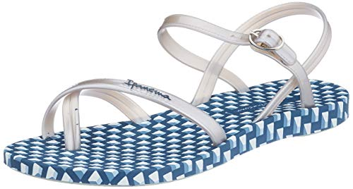 Ipanema Fashion Sand VIII Fem, Sandalias con Tira Vertical Mujer, Multicolor (Blue/Silver 8984.0), 39 EU