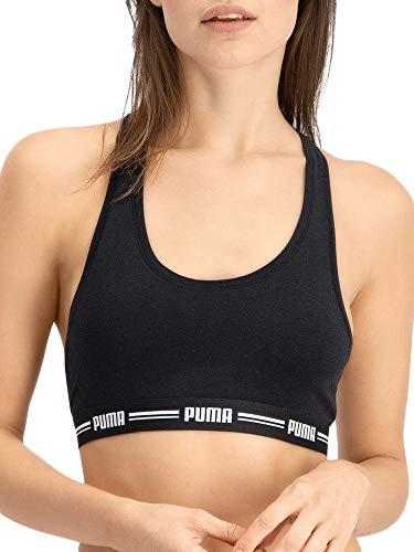 PUMA Women Racer Back Top 1P Hang Sujetador Deportivo, Black, M para Mujer