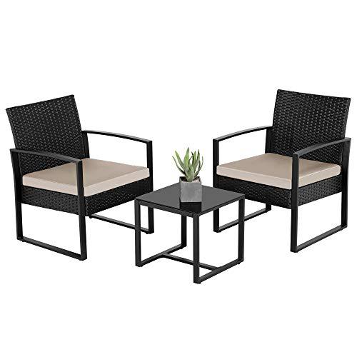 Yaheetech Conjunto de Sillas y Mesa Exterior para Terraza Juego de Muebles de Jardín de Ratán Sillas Balcón con Cojines Impermeable
