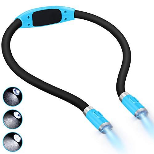 LUXJET Flexible llevó luz del libro de la abrazo lámpara de lectura de luz de la linterna cuello lectura, 4 LED bombillas, 3 brillo ajustable, USB recargable, para leer en la cama o coche (azul claro)