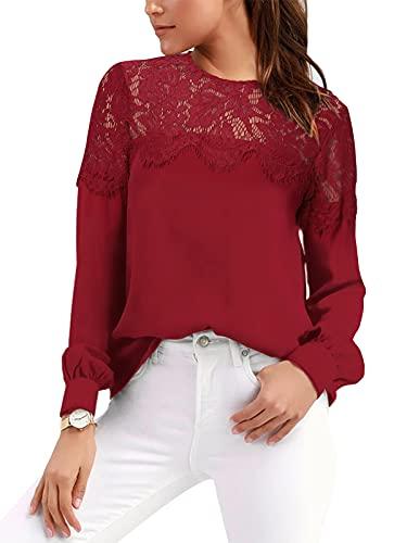 VONDA Camisa Mujer Manga Larga Sexy para con Blusa Encaje Tops Elegantes Bordados Túnica Cuello Redondo Shirt A-Vino Tinto L