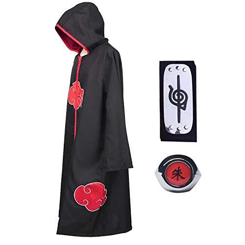 Noe Cosplay Naruto Disfraz de Itachi Uchiha Capa Larga del anime Naruto con Diadema de Naruto Leaf Village y Anillo de Naruto Akatsuki para fanáticos de Naruto Unisex, M