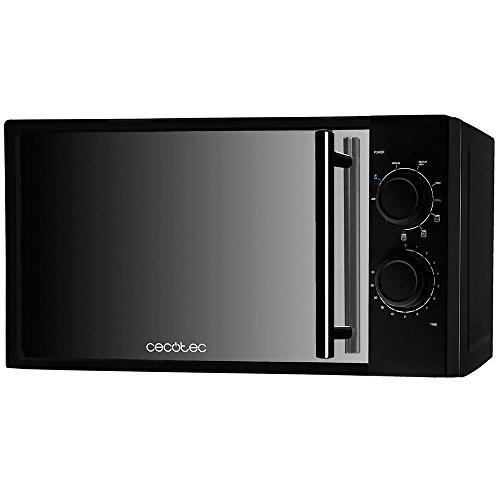 Cecotec Microondas All Black Grill. 700 W de Potencia, Capacidad de 20l, Grill de 900 W, 9 Niveles Funcionamiento, Temporizador 30 min, Modo Descongelar, Acabado Negro