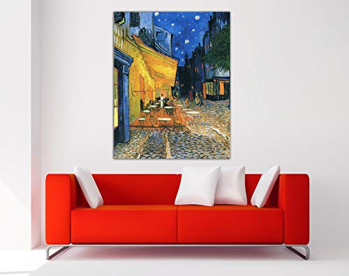 Desconocido Cuadro Lienzo Café de Arles Van Gogh - Lienzo de Tela Bastidor de Madera de 3 cm - Fabricado en España - Varias Medidas - Impresión en Alta resolución (47, 60)