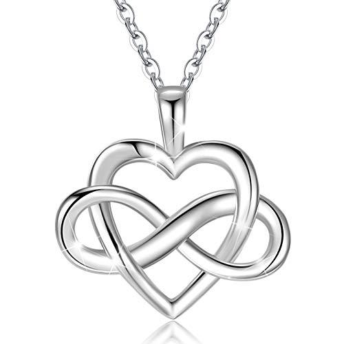 CELESTIA Collares Finos de Las Mujeres, Plata de Ley 925 Corazón Colgante Collar de Amor Infinito, Amando tu Vida, 50cm Cadena, Regalos para los Más Queridos Amante