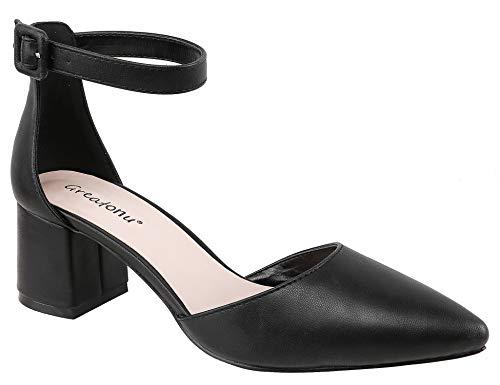 Greatonu Zapatos de Tacón Ancho Suede Modo Clásico con Hebillas Negro para Mujer Tamaño 40 EU