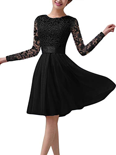 ZANZEA Vestido de Fiesta Encaje Manga Larga Mujer Tallas Grandes Elegant Vestido de Cóctel de Noche Cortos Manga Larga Encaje Negro XL