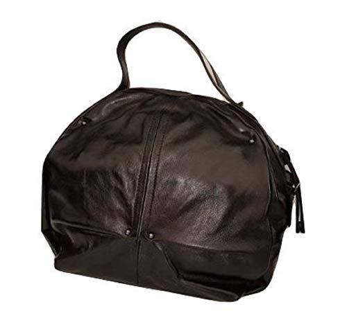 Caterina Lucchi N0131CF - Bolso baúl de piel Calf negra con correa desmontable