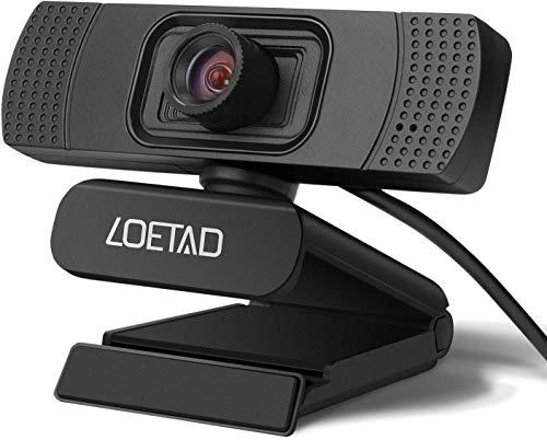 LOETAD Cámara Web Webcam 1080P Full HD con Micrófono Estéreo para Video Chat y Grabación Compatible con Windows, Mac