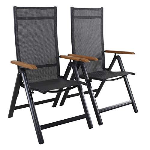 Ambientehome Juego de 2 sillas Plegables de Aluminio de Lujo con Respaldo Alto y reposabrazos de Madera de Acacia Negra 4 x 4.
