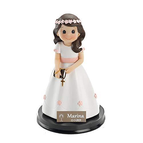 Figura Muñeca de tarta para comunión Niña con libro PERSONALIZADA con nombre y fecha