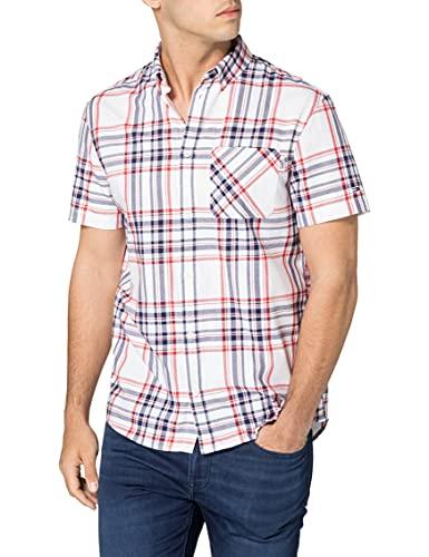 Tommy Jeans TJM Shortsleeve Check Shirt Camisa, Blanco/multicolor, M para Hombre