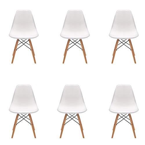 Pack 4/6 sillas de Comedor Silla diseño nórdico Retro Estilo (6-Blanco)