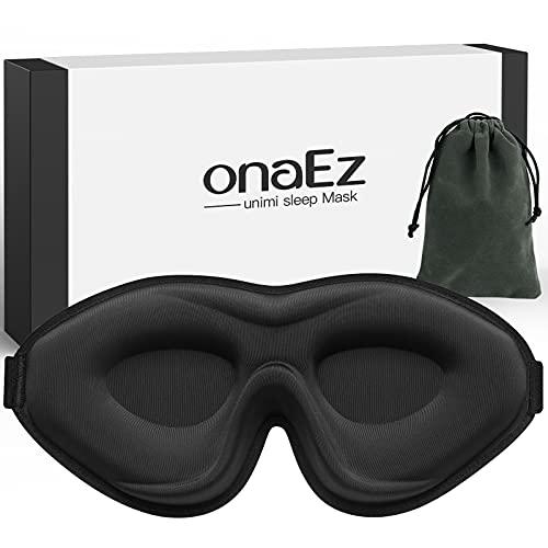 Antifaz para Dormir 3D para Mujeres y Hombres, onaEz 2021 Mascara Ojos para Dormir con Anti-Luz Mejorada, 12 mm de profundidad y almohadillas nasales elevadas,Máscara de Sueño de Seda para Viajes,Yoga