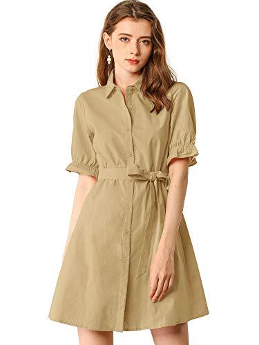 Allegra K Vestido Camisero con Cinturón Botón Abajo Color Sólido De Algodón Manga Corta con Volantes Casual para Mujeres Caqui XS