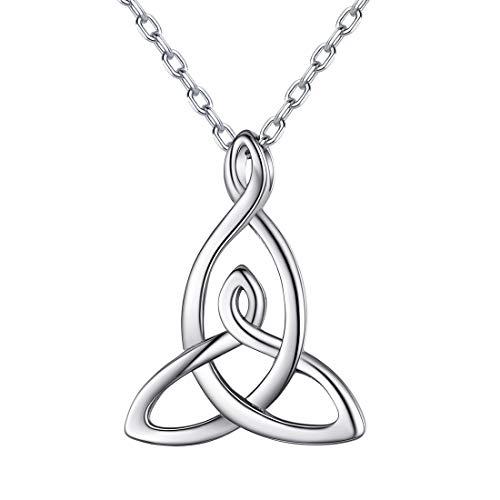 ChicSilver Madre e Hija Colgante Triángulo Nudo Celta para Cuello Collar Delicado Plata de Ley 925 para Mama Regalo Cumpleaños Amor Eterno