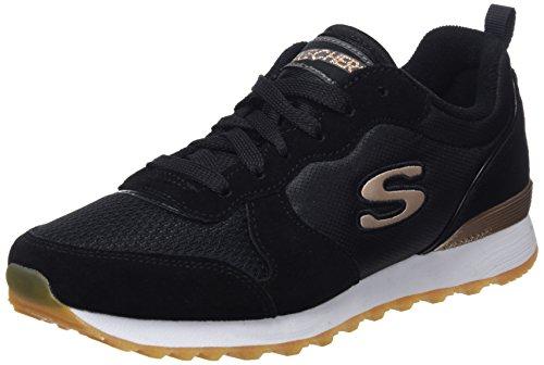 Skechers Retros-OG 85-Goldn Gurl, Zapatillas de Deporte Mujer, Negro (BLK Black Suede/Nylon/Mesh/Rose Gold Trim), 38 EU