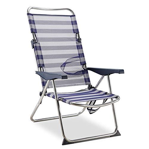 Solenny 50001072725175 50001072725175-Silla de Playa Cama Plegable 4 Posiciones Azul y Blanco con Asas