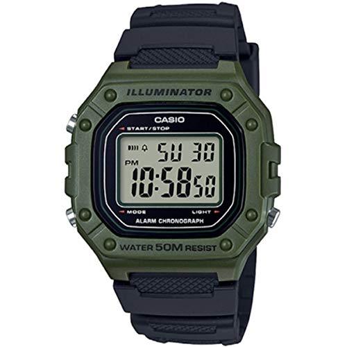 Casio Reloj Digital para Hombre de Cuarzo con Correa en Resina W-218H-3AVEF