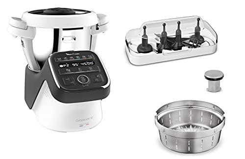 Moulinex Companion XL - Robot de cocina multifunción, 1550 W, capacidad útil del cuenco 3 L, 12 programas, sopas, carne, Gaspacho, Risotto, libro de recetas incluido, fabricado en Francia HF80C800